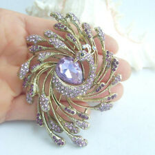 Bouquet Brooch Lavender Crystal Rhinestone Peacock Brooch Pin EE05808C4