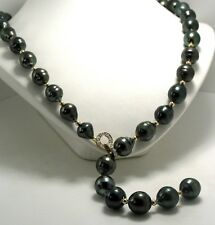 Black Tahitian Pearl & Gold Bead Lariat Necklace, 14K Diamond Clasp, 23""