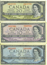 Bank of Canada Lot of 3 Vintage Notes $5 $10 $20  $35 Face Queen Elizabeth II