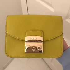 Furla Metropolis Mini With Chain And Flap In Leather Saffiano Lemon Yellow