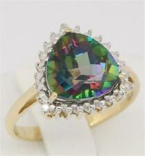Natural 4.42ct Mystic Topaz & Diamond 9K 9ct 375 Solid Gold Ring  30 Day Refunds
