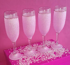 4 Rosa Pálido Del Rhinestone Brillo copas de vino presente Boda Cumpleaños Navidad