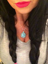 Native American Sterling Turquoise Cluster Pendant/Necklace REVERSABLE Turquoise