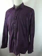 Ted Baker Men's 42 (16.5) Large Purple Floral French Cuff Long Sleeve Shirt