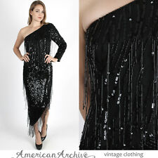 Vintage 80s Sequin Beaded Dress One Shoulder Cocktail Party Fringe Silk Maxi M