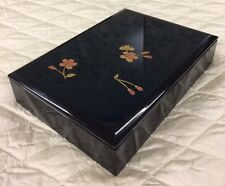 Vintage Black Plastic Jewelry Box Oriental Asian Chinese with Flowers Square