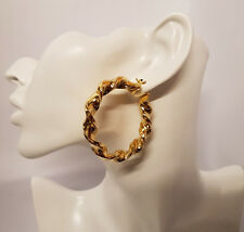 Pair Chic Hoops Big Twisted 9ct Gold Plated Creole Round Hoop Piercing Earring