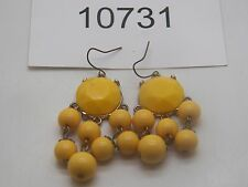 Vintage Jewelry  Earrings  Danglers  Beautiful Yellow  Beads     NICE 10731