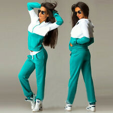 2Pcs Womens Tracksuit Set Hoodies Sweatshirt Pants Jogger Exercise Sportswear