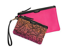 NWT Victoria's Secret Cosmetic Bag Wristlet Duo Makeup Brush Handbag Pink (D51)
