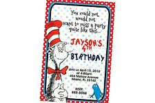 Dr Seuss Birthday Invitation 24hr Service UPRINT