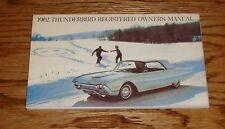 1962 Ford Thunderbird Owners Operators Manual 62