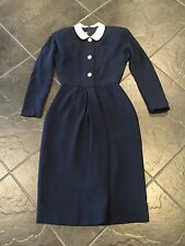 Vintage Geoffrey Beene Navy Secretary Dress Small 4