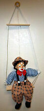Beautiful Circus Clown on swing 28 in tall, Porcelain face, unique collectible