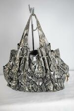 BARR & BARR Snake Embossed Leather Bag Double Entry Top Python Print Black/Tan