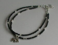 Black Beads Double Strand Elephant Charm Anklet Festival Hippy Beach