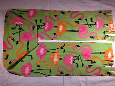 Pink Flamingos and Orange Flamingos on Green Light Weight Micro Fleece Scarf