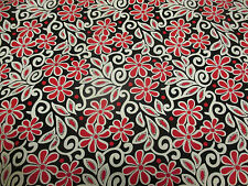 Black, Cream & Red Filigree Printed 100% Cotton Poplin Fabric. (SPECIAL OFFER!)
