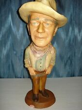 JOHN WAYNE ESCO FIGURINE CHALKWARE 1979 COWBOY HAT & BELT, BANDENNA AROUND NECK