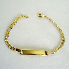 """Small Baby14k Gold Plated Chain Bracelets with Blank Plate for Engraving 6"""" Long"""