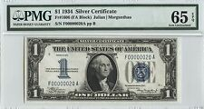 *Low 2 Digit Serial Number* #F00000020A  1934 $1 Silver Certificate PMG 65 EPQ
