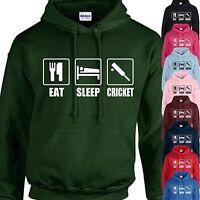 EAT, SLEEP, CRICKET HOODIE ADULT/KIDS - PERSONALISED - TOP GIFT SPORT BAT BALL