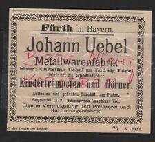 FÜRTH, Werbung 1912, Johann Uebel Metallwaren-Fabrik Kinder-Trompeten
