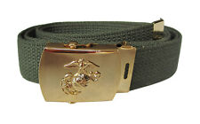 OLIVE GREEN BELT WITH WW2 STYLE US MARINE CORPS BUCKLE