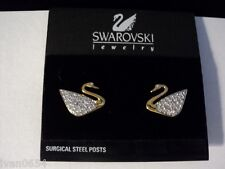 Signed Swan Swarovski Gold Plated Pave Swan Pierced Earrings