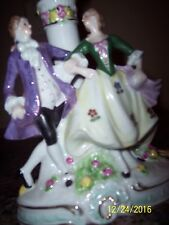 Vintage Porcelain Victorian Dancing Couple Figurine Table Lamp Made in Germany