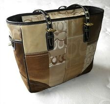 NEW COACH HOLIDAY GOLD PATCHWORK SIGNATURE SUEDE GALLERY LG TOTE BAG PURSE NICE!