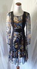 NEW BLACK FLORAL Crochet INSETS BOHO GYPSY Wench PRAIRIE Long Sleeve DRESS Small