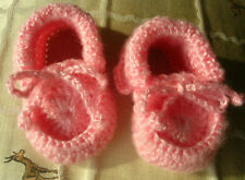 Pink baby shoes. Hand crocheted. 3 to 6 months. Leather soles.New