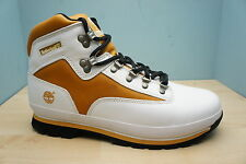 Timberland Euro Hiker Mens Size 12 UK White & Brown Leather Boots BRAND NEW