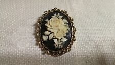 Gerry's Goldtone Metal Oval Black White Plastic Flower Bouquet Cameo Brooch Pin