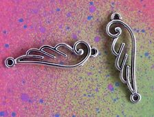 10 Angel Wings Connector Bird Feather Wing Charm Tibetan Silver Charms Jewelry
