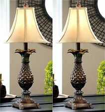 Set of Two (2) ** PINEAPPLE NIGHT STAND or TABLE LAMPS  WITH LAMP SHADES  ** NIB