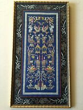 Antique Chinese Hand Embroidered Stitch on Silk Panel, Faux Bamboo Frame