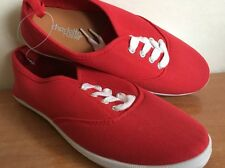 Sneakers Red Shoes Canvas Women Charlotte Russe Plimsoll Lace-Up Shoes Sizes 6