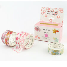 5 pcs Japanese Floral Washi Tape Set Korean Stationery Pink Masking Deco Kawaii