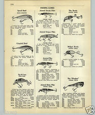 1952 PAPER AD Creek Chub Fishing Lure Jointed Snook Pikie Striper Bomber Midget