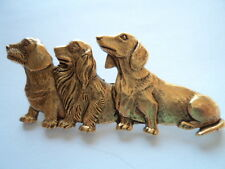 "Vintage Signed JJ  ""Gold pewter Trio of Dachshunds"" Brooch/Pin"