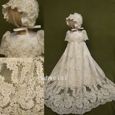 Toddler Baby Baptism Christening Gown Lace First Communion Beads Dresses Bonnet