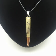 Men'S Fashion Jewelry Bronze Fire Bullet Pendant Black Leather Necklace Gift #1