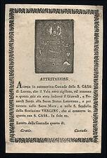 santino incisione xilografia 1700 MADONNA DI LORETO