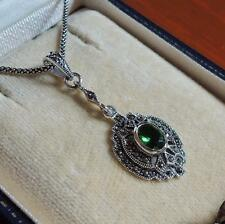 Sterling Silver Emerald and Marcasite Pendant Necklace 20""