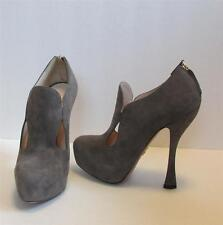 Prada cutout gray grey bootie shoe zipper platform shootie 37.5 7.5 New suede