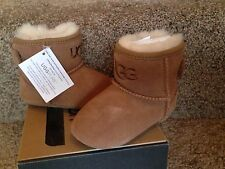 UGG I Jesse infant chestnut suede wool lined boots booties Small 2/3 (6-12M) NIB