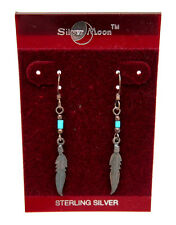 NEW! NATIVE AMERICAN Sterling Silver TURQUOISE Bead & FEATHER Dangle Earrings