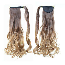 Ponytail Wrap Around Hairpiece Long Hair Extensions Curly Wavy Ombre Blonde 8/27